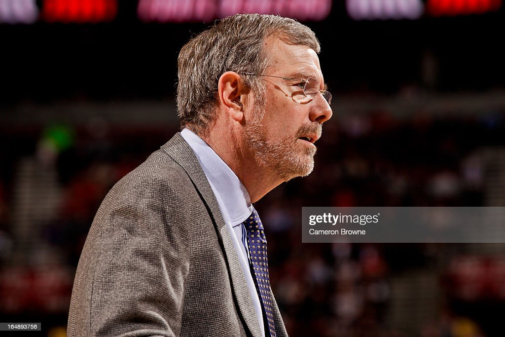 Interim Head Coach P.J. Carlesimo of the Brooklyn Nets looks on during a game against the Portland Trail Blazers on March 27, 2013 at the Rose Garden Arena in Portland, Oregon.