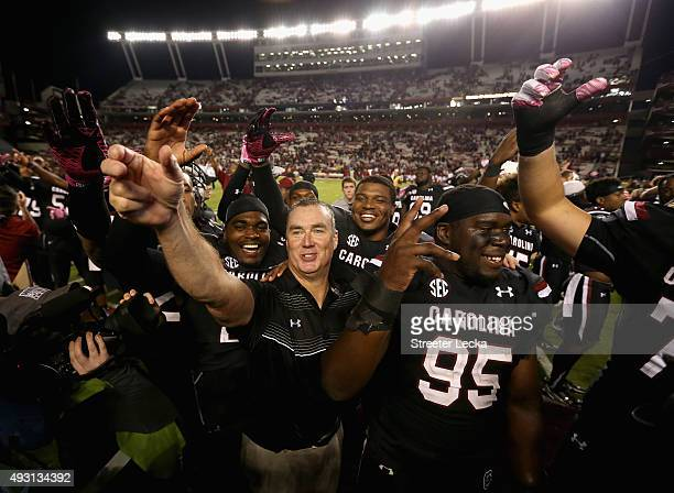 Interim head coach Shawn Elliott of the South Carolina Gamecocks celebrates after defeating the Vanderbilt Commodores 1910 at WilliamsBrice Stadium...