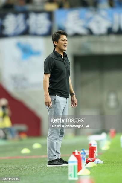 Interim head coach Takayuki Yoshida of Vissel Kobe gives instruction during the JLeague J1 match between Vissel Kobe and Kawasaki Frontale at Noevir...