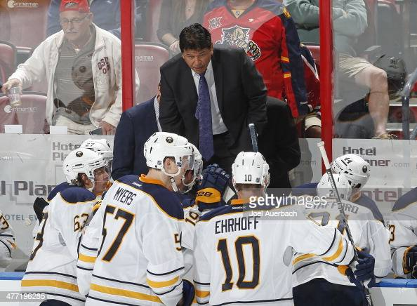 Interim head coach Ted Nolan of the Buffalo Sabres directs the players during a break in action against the Florida Panthers at the BBT Center on...