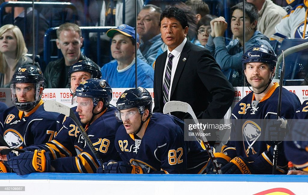Interim head coach Ted Nolan of the Buffalo Sabres watches the action against the Toronto Maple Leafs on November 15 2013 at the First Niagara Center...