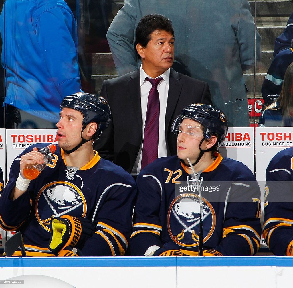 Interim head coach Ted Nolan of the Buffalo Sabres watches the action against the Ottawa Senators on December 10 2013 at the First Niagara Center in...