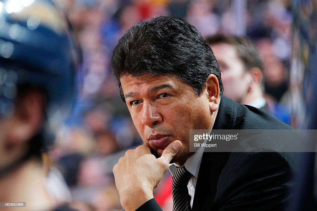 Interim head coach Ted Nolan of the Buffalo Sabres watches the action against the New Jersey Devils on January 4 2014 at the First Niagara Center in...