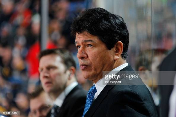 Interim head coach Ted Nolan of the Buffalo Sabres watches the action against the Florida Panthers on January 21 2014 at the First Niagara Center in...