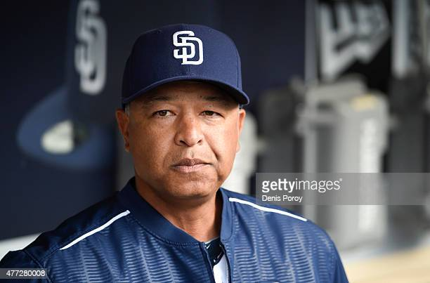 Interim manager Dave Roberts of the San Diego Padres looks on before a baseball game against the Oakland Athletics at Petco Park June 15 2015 in San...