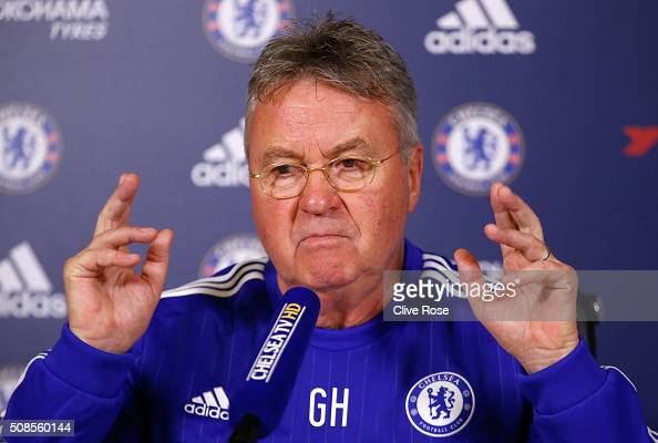 Interim manager Guus Hiddink of Chelsea talks to the media during a Chelsea Press Conference at Chelsea Training Ground on February 5 2016 in Cobham...