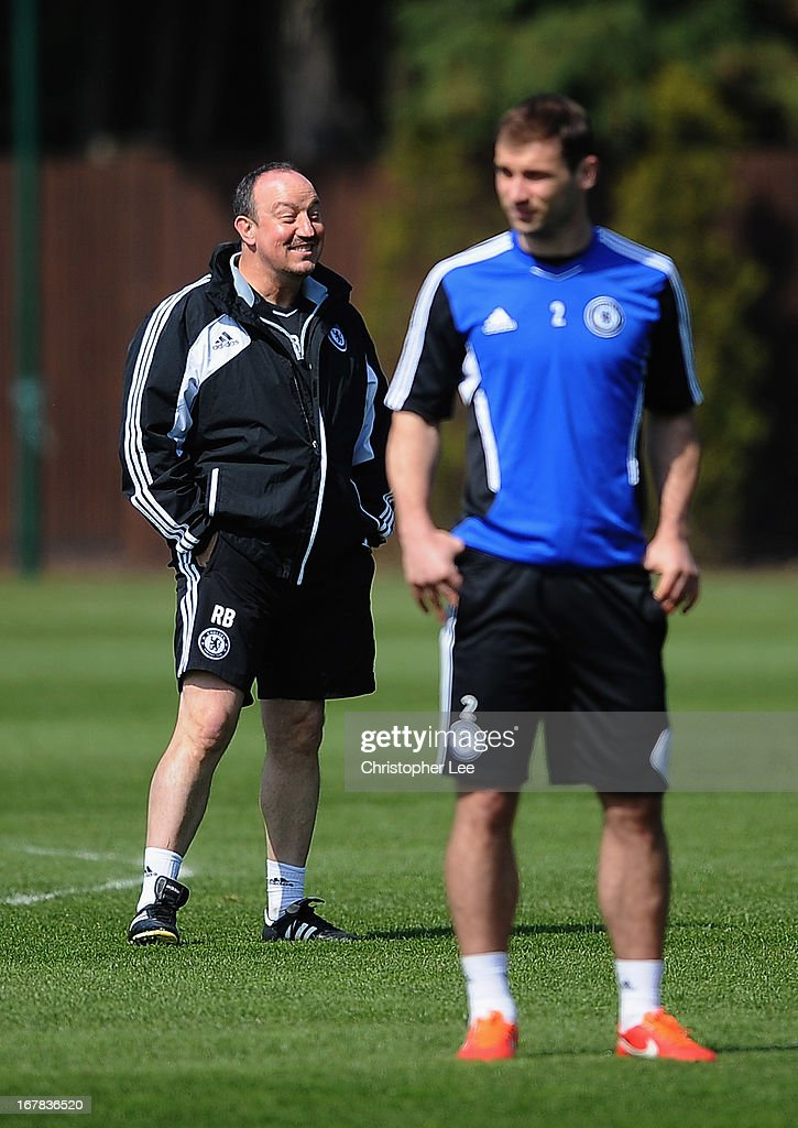 Interim Manager Rafa Benitez laughs during the Chelsea Press Conference at Stamford Bridge on May 1, 2013 in Cobham, England.