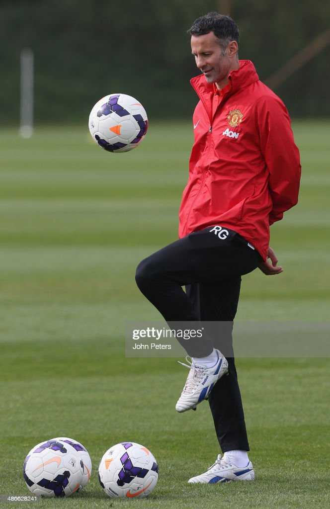 Interim Manager Ryan Giggs of Manchester United in action during a first team training session at Aon Training Complex on April 25, 2014 in Manchester, England.