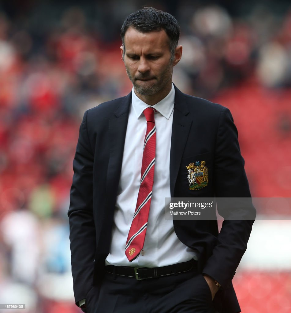 Interim Manager Ryan Giggs of Manchester United walks off after the Barclays Premier League match between Manchester United and Sunderland at Old Trafford on May 3, 2014 in Manchester, England.