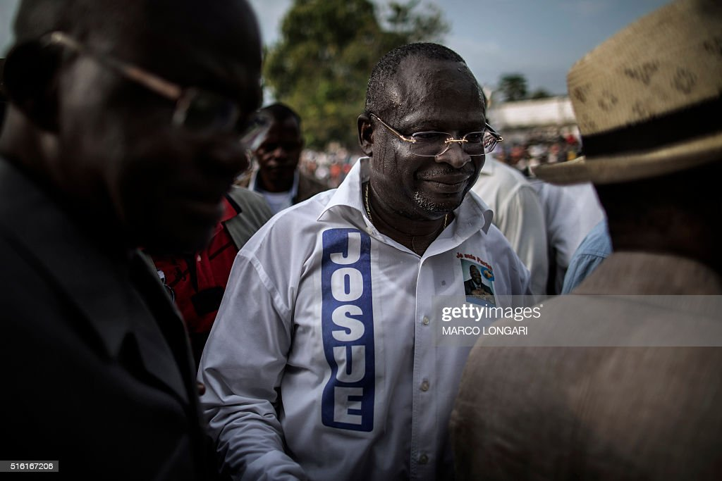 Interim President of the Congolese Movement for Democracy and Integral Development Guy Brice Parfait Kolelas leaves the stage after addressing his...