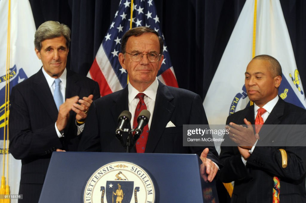 Interim Senator Paul G Kirk Jr speaks as US Senator John Kerry and Massachusetts Democratic Governor Deval Patrick look on at a press conference on...