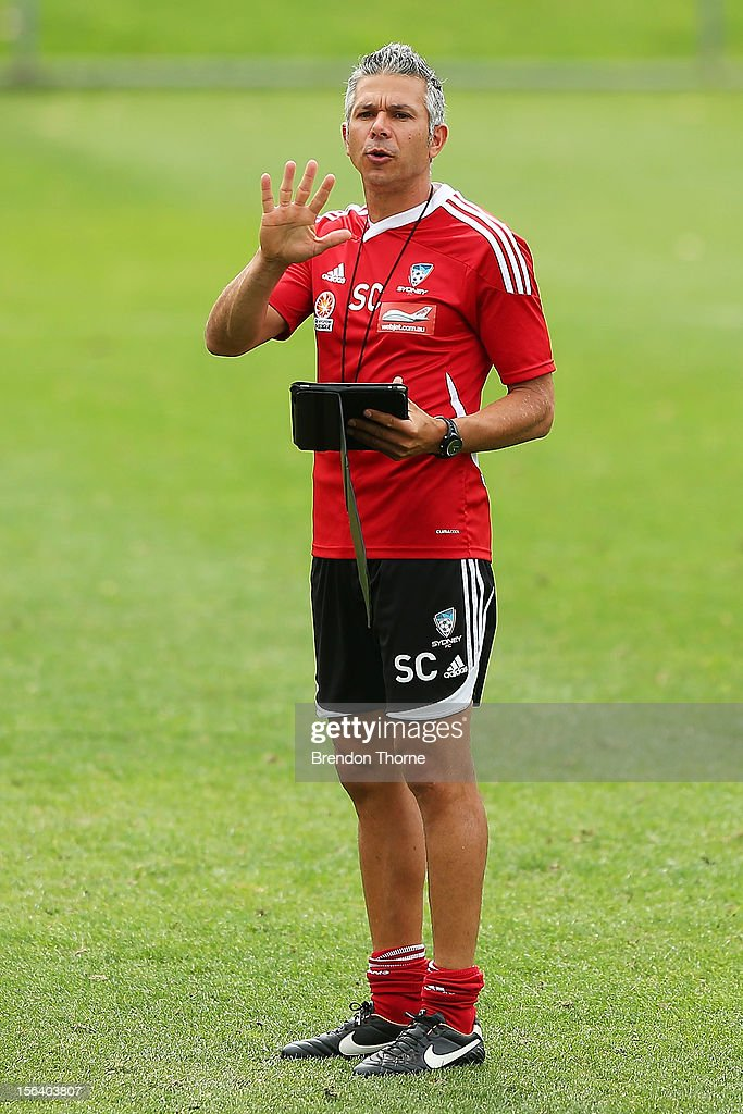Interim Sydney FC coach <a gi-track='captionPersonalityLinkClicked' href=/galleries/search?phrase=Steve+Corica&family=editorial&specificpeople=559144 ng-click='$event.stopPropagation()'>Steve Corica</a> gestures towards his players during a Sydney FC A-League training session at Macquarie Uni on November 15, 2012 in Sydney, Australia.