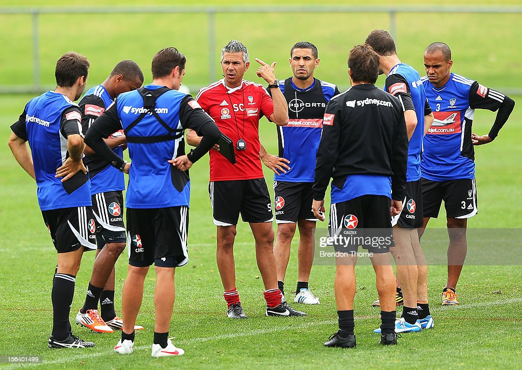 Interim Sydney FC coach <a gi-track='captionPersonalityLinkClicked' href=/galleries/search?phrase=Steve+Corica&family=editorial&specificpeople=559144 ng-click='$event.stopPropagation()'>Steve Corica</a> speaks to his players during a Sydney FC A-League training session at Macquarie Uni on November 15, 2012 in Sydney, Australia.