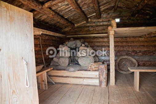Interior Ancient Traditional Russian Wooden House X Century Stock Photo