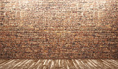 Interior background,empty room with brick wall and wooden floor 3d render