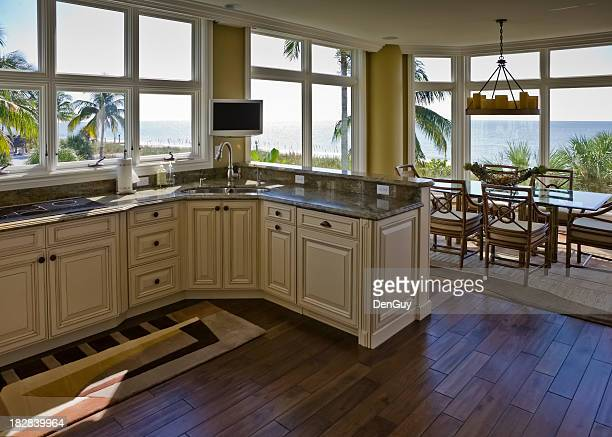 Interior Beachhouse Kitchen Diningroom With Beach View