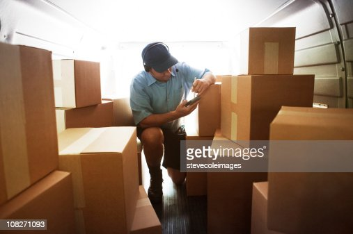 Interior Courier Van Loaded with Boxes : Stock Photo