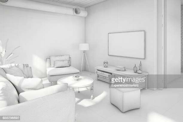 Interior design apartment white template