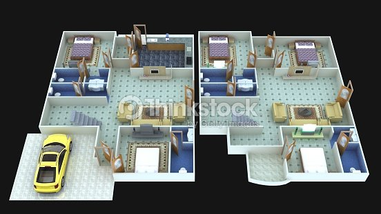 3D interior design for 2BHK houses : Stock Photo