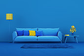 Blue modern sofa in blue living room