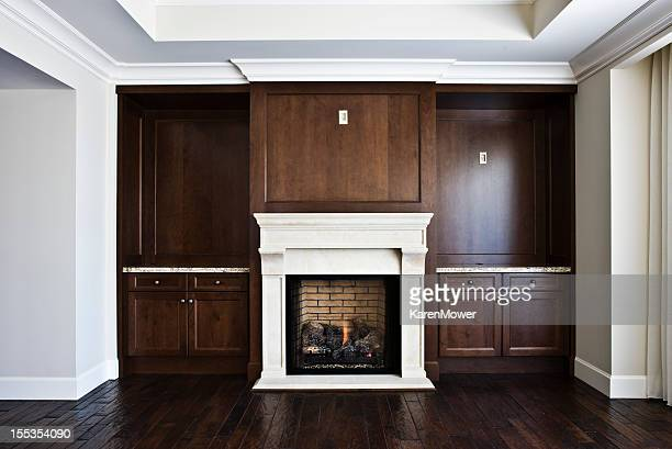 Interior design of a modern living room with a fireplace