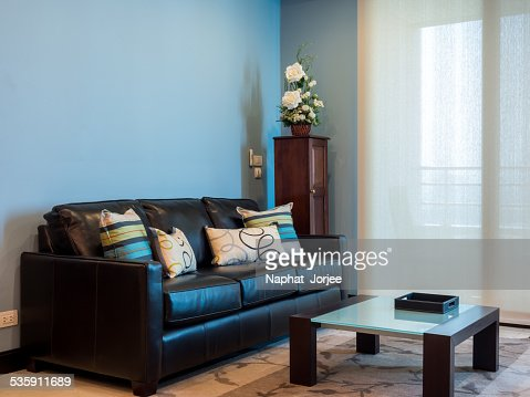 Interior design of modern Living room with black couch : Stock Photo