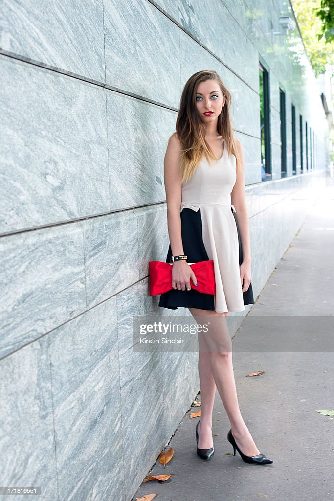 Interior design student Jordan Fons wears vintage shoes, a Windsor bag and an Akira dress on day 3 of Paris Collections: Men on June 28, 2013 in Paris, France.