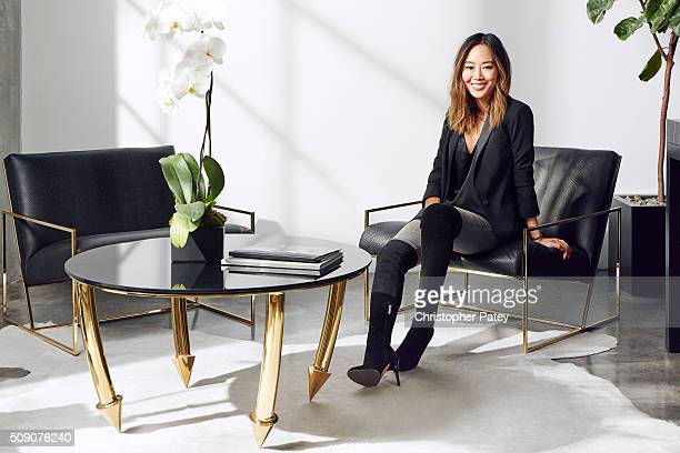 Interior designer and style blogger Aimee Song is photographed in the office of Vita Fede that she designed for Domaine Home on November 23 2015 in...