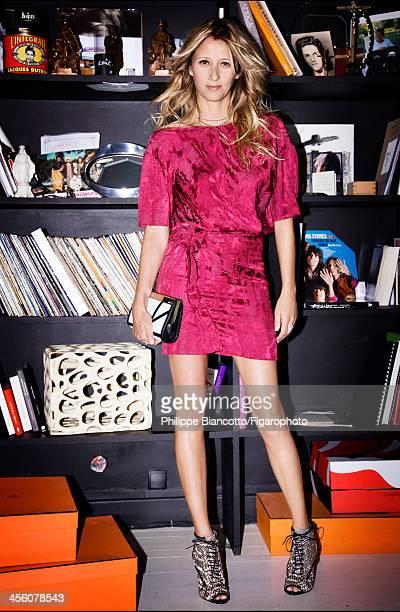 108009010 Interior designer Sarah Lavoine is photographed for Madame Figaro on October 11 2013 in Paris France Dress necklace handbag sandals...