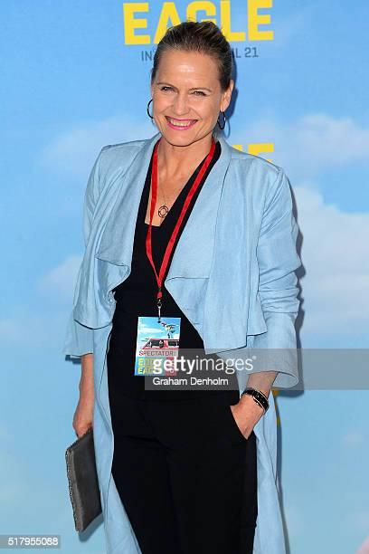 Interior Designer Shaynna Blaze arrives ahead of the Eddie The Eagle screening at Village Cinemas Crown on March 29 2016 in Melbourne Australia