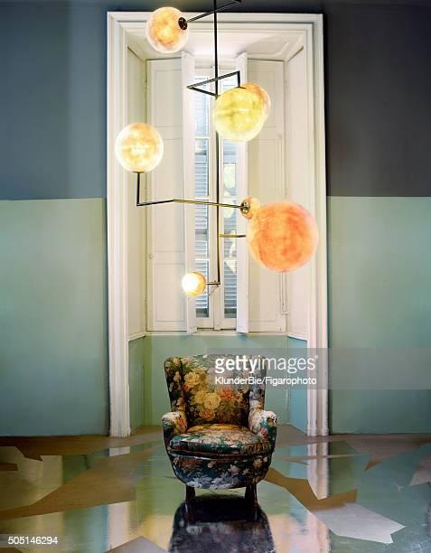 Interior designers Emiliano Salci and Britt Moran of Dimore are photographed for Madame Figaro on October 15 2015 in Milan Italy Lampada 061...