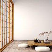 Include with table,wood floor and tatami mat and traditional Japanese door on best window with red maple view ,was designed specifically in Japanese style
