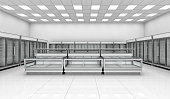 Interior empty supermarket with  showcases and freezer bonnet. 3d image