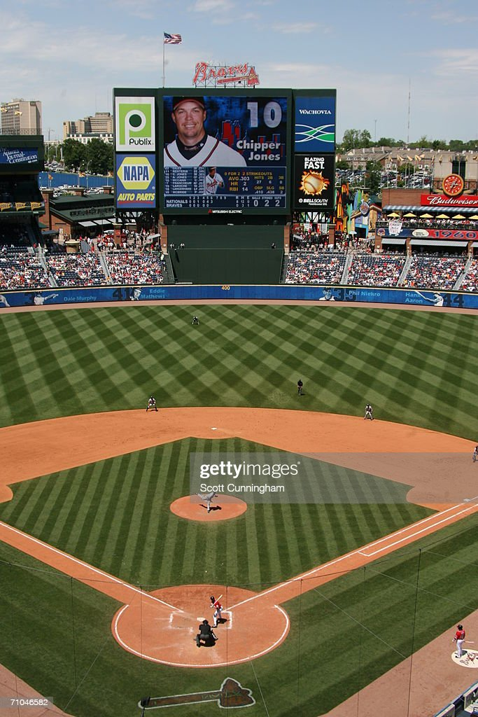 Interior general view of the stadium scoreboard during the game between the Washington Nationals and Atlanta Braves on May 14 2006 at Turner Field in...