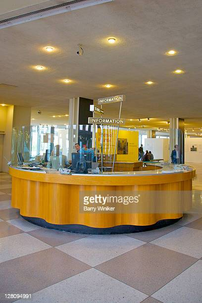Interior, ground floor information desk in lobby of the United Nations, New York, New York