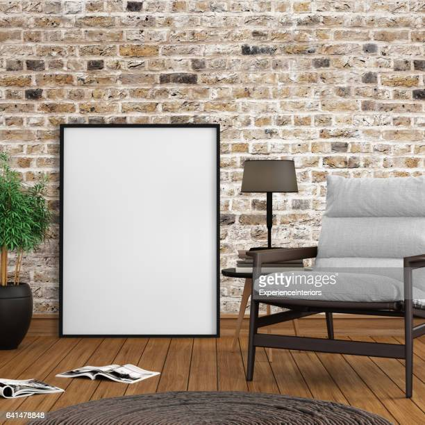 Interieur hipster mock up lege foto poster frame sjabloon