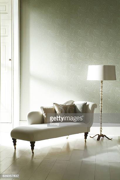 Interior image of chaise lounge in room