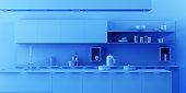 Interior Kitchen Background in Minimalist Monochrome Style - 3d rendering, 3d illustration