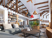 Interior living room, loft style. Maisonette a modern living room with a billiard room in the big house. Aquarium and stylized shelving for books. 3D render