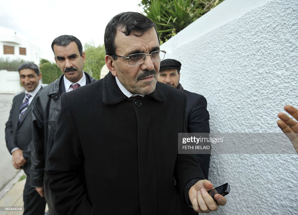 Interior Minister Ali Larayedh arrives for a meeting at the Ennahda ruling party's headquarters on February 22, 2013 in Tunis. Ennahda has tapped Larayedh as its candidate to replace Prime Minister Hamadi Jebali, who resigned this week amid a major political crisis, the party said.