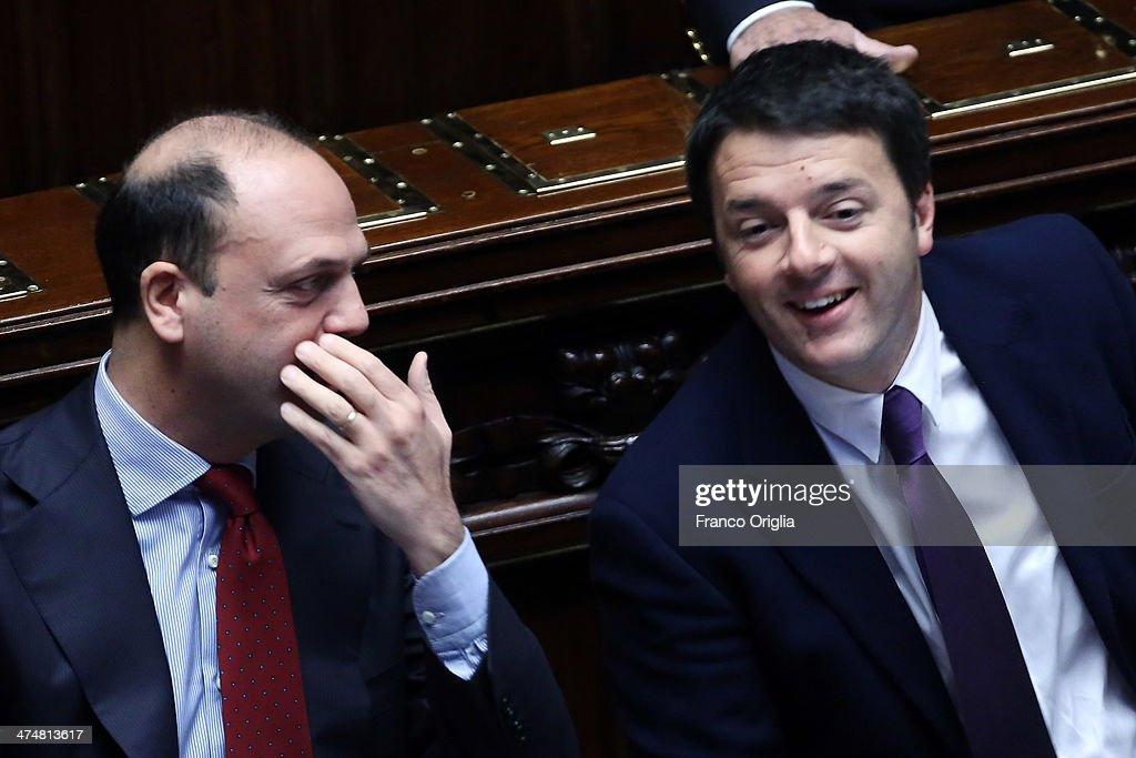 Interior Minister Angelino Alfano and Italian Prime Minister Matteo Renzi attend a debate ahead of a confidence vote on his coalition government at...