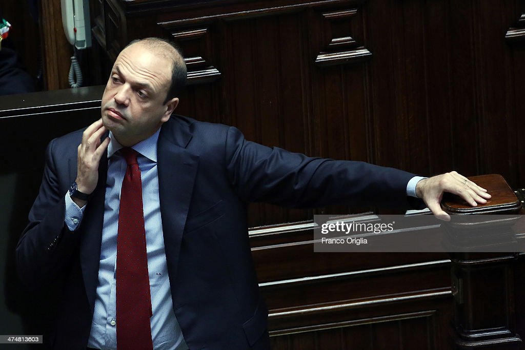 Interior Minister <a gi-track='captionPersonalityLinkClicked' href=/galleries/search?phrase=Angelino+Alfano&family=editorial&specificpeople=5101299 ng-click='$event.stopPropagation()'>Angelino Alfano</a> attends a debate ahead of a confidence vote on the coalition government of Prime Minister Matteo Renzi at the Italian Chamber Of Deputies at Montecitorio Palace on February 25, 2014 in Rome, Italy. Renzi, 39, is the youngest prime minister in the country's history.