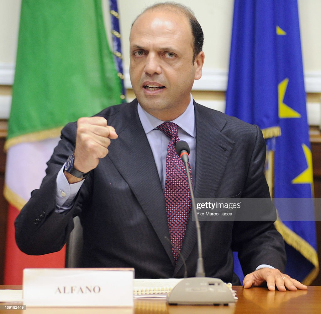Interior Minister <a gi-track='captionPersonalityLinkClicked' href=/galleries/search?phrase=Angelino+Alfano&family=editorial&specificpeople=5101299 ng-click='$event.stopPropagation()'>Angelino Alfano</a> attends a meeting on safety after a recent spate of violence in Milan, at Prefettura on May 21, 2013 in Milan, Italy. The violence, including a pickaxe rampage by a Ghanian immigrant two weeks ago that left three dead and a midday Molotov-cocktail robbery earlier today in the city center, is seeing an increase in the number of police on the streets.