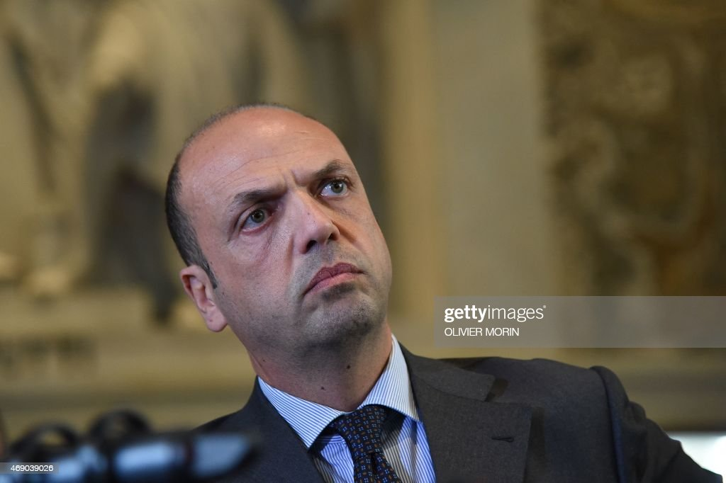 Interior Minister Angelino Alfano attends a press conference on April 9 2015 at the Tribunal of Milan An armed man identified as Claudio Giardiello...