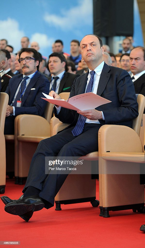 Interior Minister <a gi-track='captionPersonalityLinkClicked' href=/galleries/search?phrase=Angelino+Alfano&family=editorial&specificpeople=5101299 ng-click='$event.stopPropagation()'>Angelino Alfano</a> attends The Certification Ceremony for the helicopter AW189 at AgustaWestland's Factory on April 23, 2014 in Varese, Italy.The EASA certification (European Aviation Agency Safesty) of the new AgustaWestland AW189 commercial helicopter was submitted today at the AgustaWestland factories of Vergiate, in the presence of the Italian Minister of the Interior and the Italian Minister of Transport. The new AgustaWestland AW189 is a twin-turbo 8-tons-class multirole helicopter and can carry up to 19 passengers.