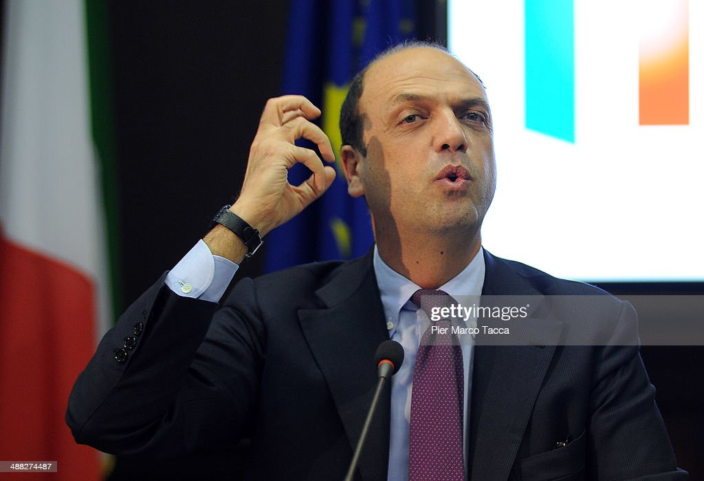 Interior Minister Angelino Alfano attends The 'Mafiafree' Expo 2015 Plan press conference with Italian Minister Angelino Alfano Lombardy's President...