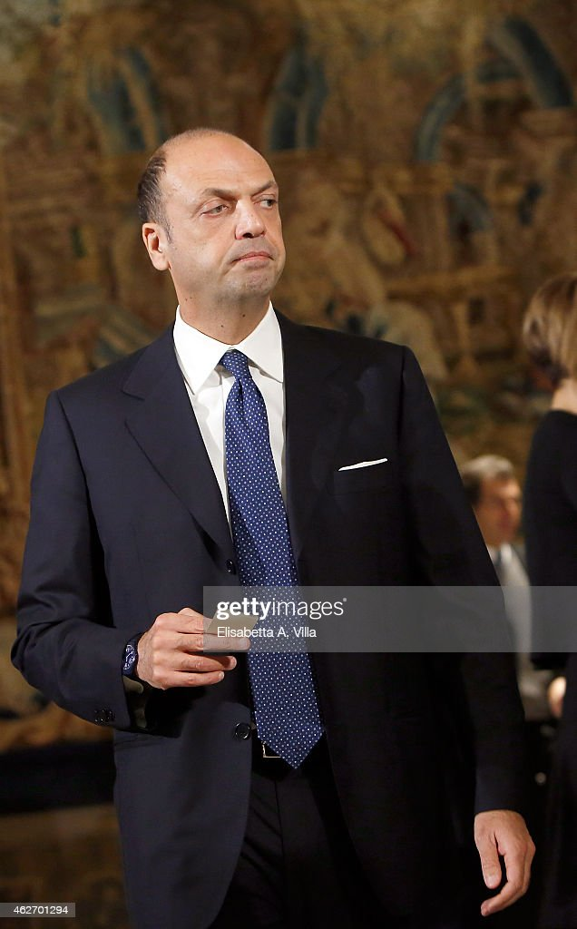 Interior Minister Angelino Alfano attends the President of Italian Republic Sergio Mattarella Ceremony of Installation at Quirinale on February 3...