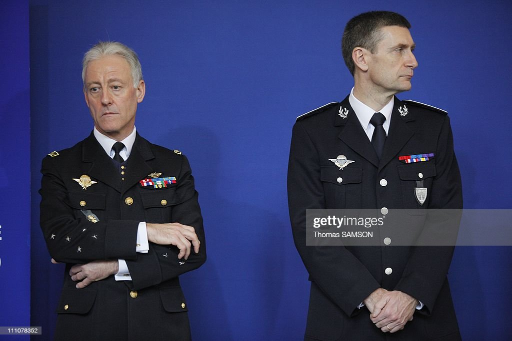 Interior Minister Brice Hortefeux presents his wishes to the press in Paris, France on January 14th, 2010 - General Roland Gilles, Director of the French Gendarmerie, and <a gi-track='captionPersonalityLinkClicked' href=/galleries/search?phrase=Frederic+Pechenard&family=editorial&specificpeople=4380379 ng-click='$event.stopPropagation()'>Frederic Pechenard</a>, General Director of the French National Police.