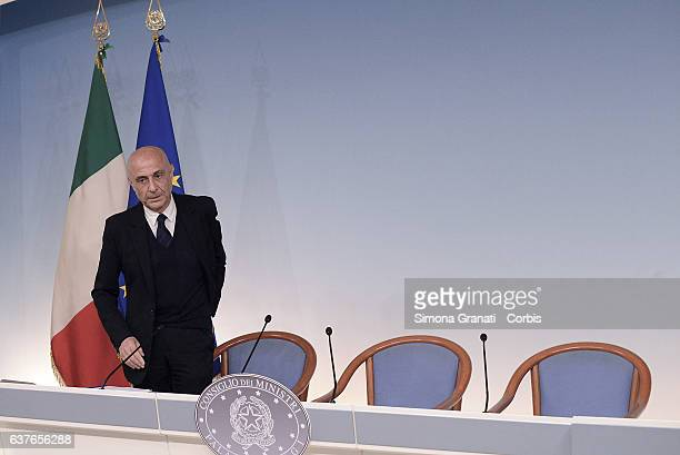 Interior Minister Marco Minniti attends the press conference at Palazzo Chigi after the meeting with the Commission study on the phenomenon of...