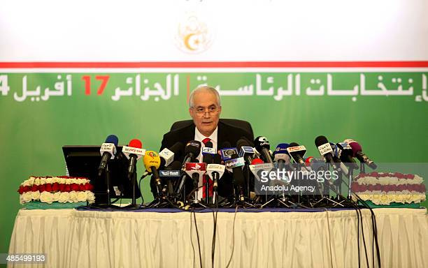 Interior Minister of Algeria EtTayyib Bilaziz holds a press conference and says that 'Election results show that Abdelaziz Bouteflika elected for the...
